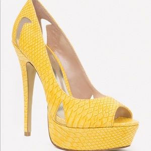 BEBE yellow peep toe pump. BRAND NEW size 7.
